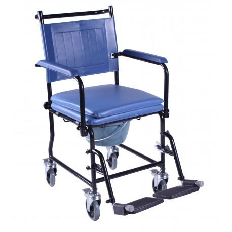 Chaise percée mobile avec accoudoirs et seau